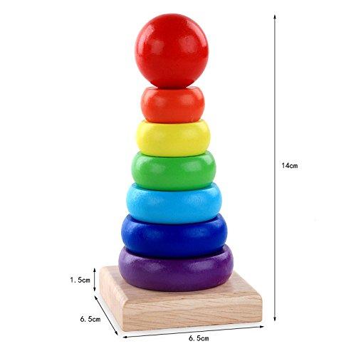 Mindruer Anillo de madera para apilar arco iris, juguete educativo para bebés (colorido)