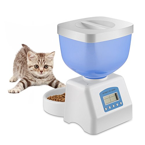 Homgrace Verbessert Automatischer Futterspender Futterautomat Katze 5L Trockenfutter Spender Futternapf für Hund und Katze, Pet Feeder mit Timer, LCD Bildschirm und Ton-Aufnahmefunktion (Pet Feeder Mahlzeit 5 Automatische)