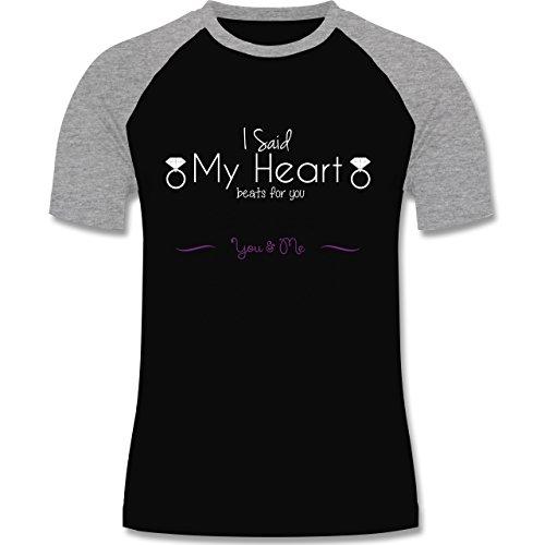 Statement Shirts - I Said My Heart Beats For You - zweifarbiges Baseballshirt für Männer Schwarz/Grau Meliert
