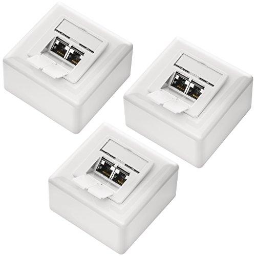 deleyCON 3X CAT 6a Universal Netzwerkdose - 2X RJ45 Port - Geschirmt - Aufputz oder Unterputz - 10 Gigabit Ethernet Netzwerk - EIA/TIA 568A&B - Weiß