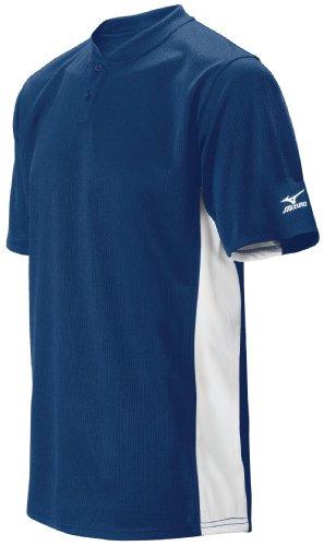 Mizuno da uomo 2Pulsante Color Block a maniche corte Baseball Jersey, Navy, M
