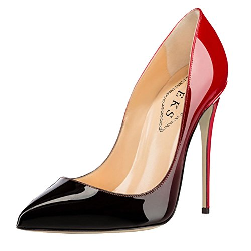 EKS , Escarpins femme Rouge - Rot-schwarz-12cm