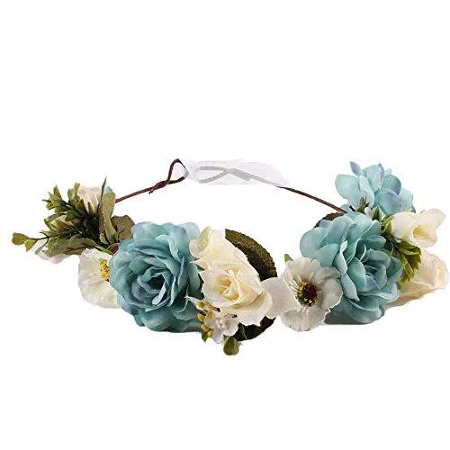Lazzboy 2019 Garland Frauen Handgefertigte Blumen Haarband Krone Hochzeit Kranz Braut Kopfschmuck(M,Blau)