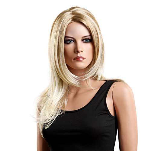 (Songmics Perücke Frauen Damen Haar Wig lockig Lang Blond für Karneval Fasching Cosplay Party Kostüm WFS216)