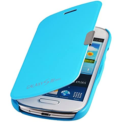 Samsung Galaxy S3 Mini i8200 Flip Cover Caja protectora con cierre magnético en azul claro de