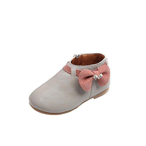 Schuhe Baby Xinan Kleinkind Girls Bowknot Sneaker Stiefel Zipper Shoes (25, Grau) (Sneakers Girls Kleinkind)