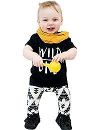 Internet Bébé Filles Garçons Enfants Impression de lettres T-Shirt + Pantalon motif géométrique Ensemble Mélange de coton