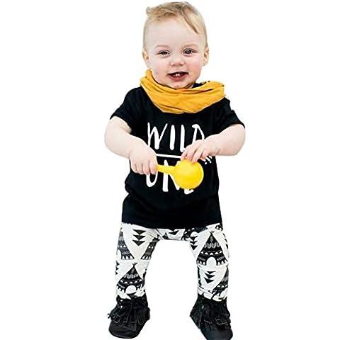 Internet Bébé Filles Garçons Enfants Impression de lettres T-Shirt + Pantalon motif géométrique Ensemble Mélange de coton (90(18 Mois), Blanc)