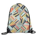 ewtretr Bolsos De Gimnasio, Portable Drawstring Bag Casual Gym Bags Travel Daypack - (Colorful Geometric)