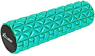 Tenstar Fitness Massage Foam Roller Therapy Yoga Gym Physio Injury Foam Roller High Quality with Cover - Cyan 46 cm