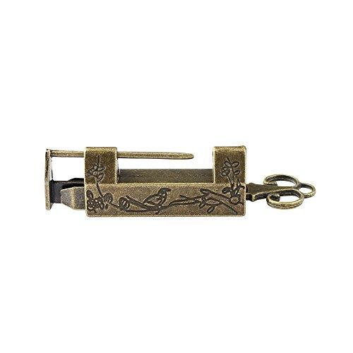 Vintage Chinese Vorhängeschloss geschnitzt Vogel Blume Vorhängeschloss Schloss mit Schlüssel für Koffer Schublade Schrank (Schublade-schrank Lock-große)