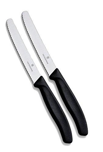 Victorinox Küchenmesser-Set 6 Stück (11cm, Extra scharfer Wellenschliff, Tafelmesser, Ergonomischer Griff, Spülmaschinengeeignet) Schwarz (2 Pack) (Wellenschliff)