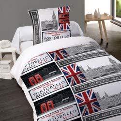 LINGE USINE Housse de Couette Portobello London Londres 1 Place 140 x 200 +1 Taie Coton