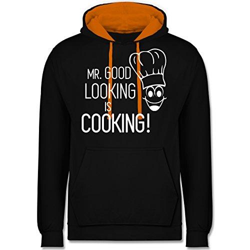 Küche - Mr. Good Looking is cooking - Kontrast Hoodie Schwarz/Orange