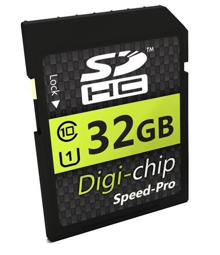 Digi-Chip 32 GO 32GB UHS-1 CLASS 10 SD SDHC Carte Mémoire pour Nikon Coolpix A900, B500, B700, CP A10, A100, DL24-85, DL18-50 & DL24-500