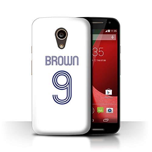 Personalisiert Individuell Fußball Vereine Trikots Kit Hülle für Motorola Moto G 4G 2015 / Weiß Blau Design/Initiale/Name/Text Schutzhülle/Case/Etui