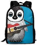 Kljdfo bébé Pingouin Jouant Drapeau égyptien Guitare Classique Voyage de Base Sac à Dos pour l'école résistant à l'eau Bookbag