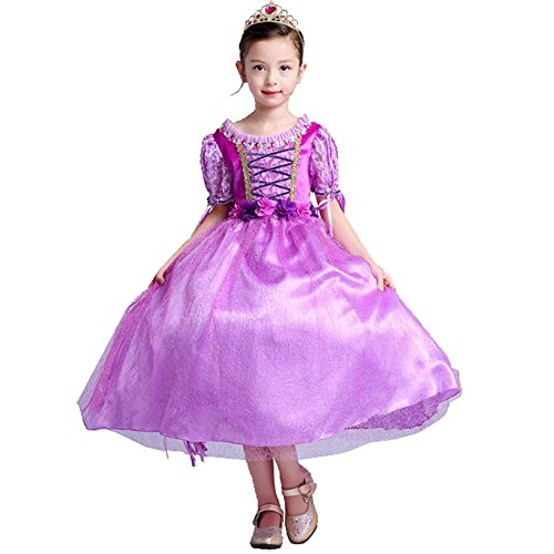 Blume Mädchen Kleid Kinder Tüll Chiffon Hochzeit Festzug Geburtstag Weihnachten Halloween Party Kinder Prinzessin . Purple . 140Cm (Halloween Kostüme Für Den School Dance)