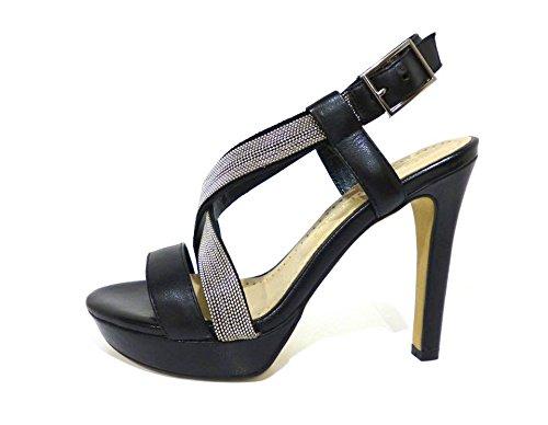 Bruno Premi F2904N sandali eleganti in pelle neri con strass argento tacco alto e plateau n° 38