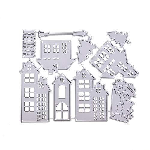 TankMR Weihnachten Haus Metall Stanzformen, Prägeschablone Vorlage Für DIY Scrapbook Album Papier Karte Kunsthandwerk Dekoration, Kreis Dekor Silber