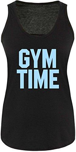 EZYshirt® Gym Time Damen Tanktop Schwarz/Hellblau