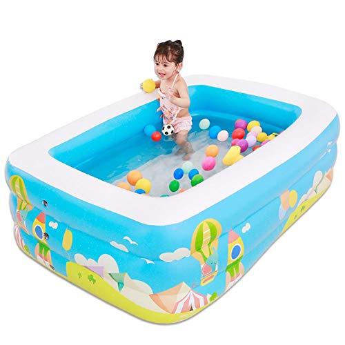 Clevoers Aufblasbarer Pool, 150 x 110 x 50 cm Kinder Aufstellpool Rechteckiges Schwimmbecken mit Pool Pumpe für Kleinkinder, Kinder, Familie, Übererdig, Garten, Outdoor