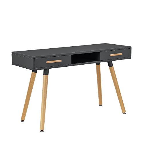 [en.casa] Retro Schreibtisch (75x120x45cm) Grau Matt Lackiert mit Schubladen -
