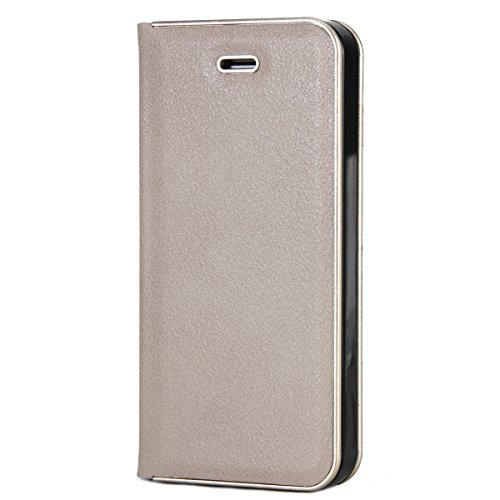 CaseforYou Hülle iPhone SE 5SE 5 5S Deckung Gehäuse Litchi Grain Pattern PC + PU Leather Protective Deckel Case Magnetic Closure Flip Stand Cover mit Card Slot Schutz für iPhone SE 5SE 5 5S (Grey) Grau