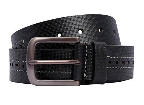 Neu Unisex Symbol Muster Loch Weiß Entwurf Genäht Real Leder Gürtel ( Black , UK 16-18 / EU 44-46 ) (Patent-symbol)