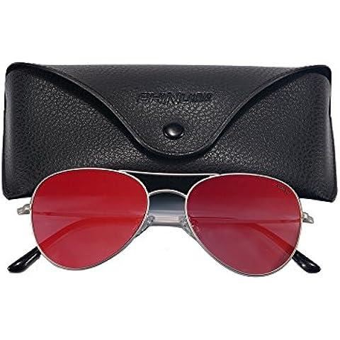 SHINU Pilot Estilo Gafas de Sol Aviador Gafas de Sol para Hombres Flash Espejo Lente UV400 Gafas-72002(Plata, Rosa)
