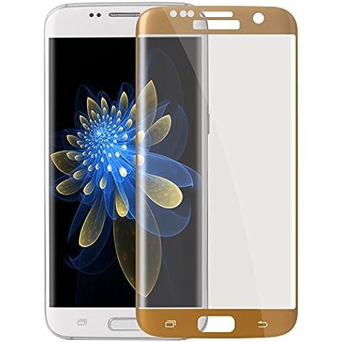 Vetro Temperato Samsung Galaxy S7 edge Pieno,ZXK CO Pellicola Protettiva per Samsung S7 edge 5.5''Pezzi 9H Durezza Resistente Super 3D Tocco Super Chiaro Vetro Temperato Pellicola Durezza Trasparente-Oro - Vetro Fragile Vetro