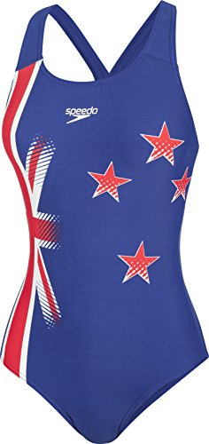 Speedo Badeanzug New Zealand Placement Powerback Gr. 38 (Flag Speedo)