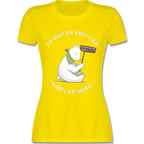 Shirtracer Sprüche - Sorry For What I Said When I was Hungry - Damen T-Shirt Rundhals Lemon Gelb