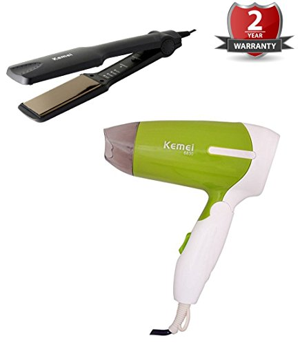 kemei Combo Pack 2 In 1 Hair Beauty Set hair dryer And Straightener And Foldable Hair Dryer