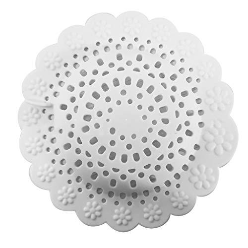 Smony - Home Accessories Abfluss-Stöpsel aus Silikon für Küche und Badezimmer – Hausreinigung Waschbecken – UK Abflusssieb Abflusssieb – Anti-Blockierung, weiß, 12 x 2 cm