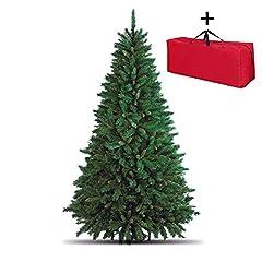 Idea Regalo - Totò Piccinni Albero di Natale Artificiale, 210 cm (1078 Rami) + Borsone, FOLTO di ALTISSIMA QUALITA', Effetto Realistico, Rami a Gancio, Facile Montaggio, PVC, Base Metallica, Ignifugo