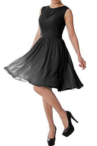 MACloth Elegant O Neck Short Bridesmaid Dress Chiffon Wedding Party Formal Gown Black