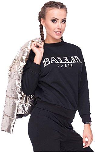 Damen Sweater Sweatshirt Pullover Pulli Ballin Paris Logo-Print Schwarz S/M