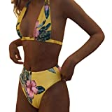 Blumendruck Push-Up gepolsterte BH Beach Bikini Frauen Damen Set Badeanzug Bademode GreatestPAK,Gelb,M