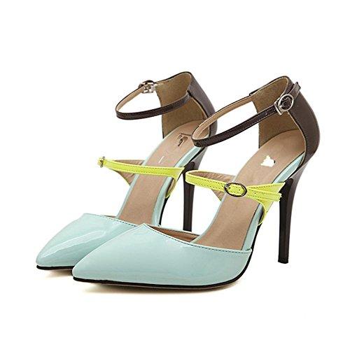 YMXJB Europe et couleurs mélangées sexy haut talon pointu Club chaussures femme Light Blue