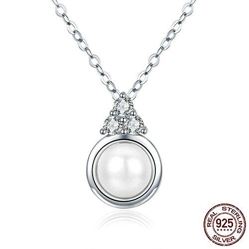 Haixin Lady naturelles collier de perles façon simple allergie pure s925 argent pendentif chaîne longueur 45cm