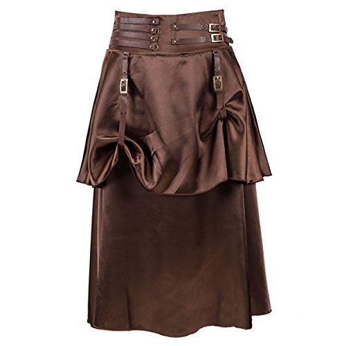 Dreamworldeu Damen Gothic Steampunk Rock Irregulär Braun Kleid Cosplay Kostüm