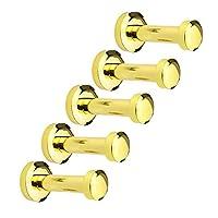 eForwish Brass Towel Hooks Coat Robe Hook Over The Door Wall Mounted Hooks 5 Pcs