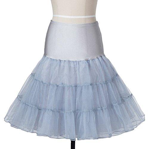 BOOLAVARD Wedding bridal 1950 Petticoat Reifrock Unterrock Underskirt Crinoline für Rockabilly Kleid Grau
