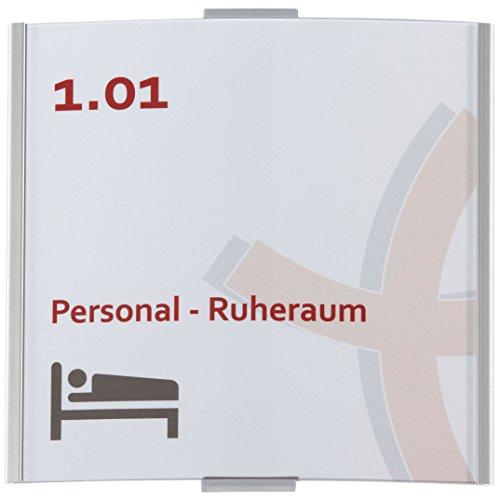 Frankfurt Türschild | 148x155mm | Aluminium silber | entspiegelte Abdeckung | einfache Montage Kleben oder Schrauben | Büroschild | Türschild Büro