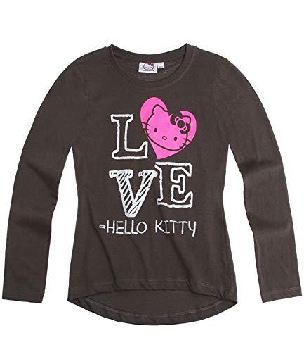 Hello Kitty Langarmshirt Sweatshirt für Mädchen in 4 Größen und 3 Motive wählbar, Farbe:schwarz;Größe:128 (Kitty Hello Für Mädchen Sweatshirt)