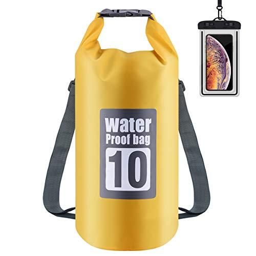 Osaloe Dry Bag, 10L / 20L Leichter Premium Wasserdichter Packsack mit Verstellbaren Doppelten Schultergurten/Wasserdichter Handybeutel für Wandern, Camping, Bootfahren, Angeln, Rafting etc. -