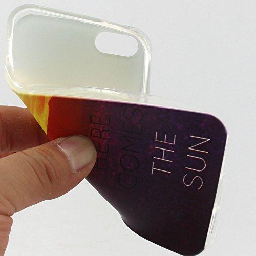 Voguecase® Per Apple iPhone 5 5G 5S, Custodia Silicone Morbido Flessibile TPU Custodia Case Cover Protettivo Skin Caso (Gatto / ECG) Con Stilo Penna tramonto Dandelion