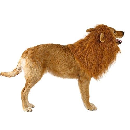 Imagen de ateid peluca con oreja de león para perro disfraz cosplay navidad, marrón claro alternativa