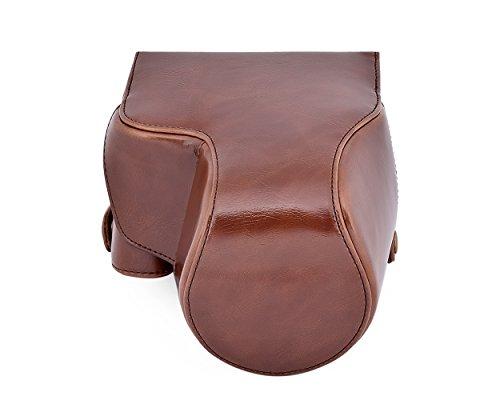 DSstyles Custodia in pelle per custodia in pelle con custodia in pelle con cinturino a spalla per Panasonic Lumix DMC-FZ1000 - Deep Brown